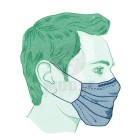 Sebészeti maszk - gumis - kék színben + EN 14689: 201493 /42/EEC megfelelőségi tanúsítvánnyal