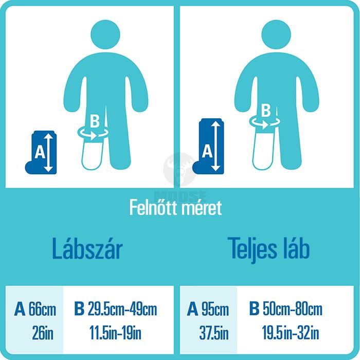 Vízhatlan gipszvédő mérettáblázat felnőttek részére, lábra, kézre